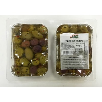 Оливки Satos Tris di Olive 400гр.