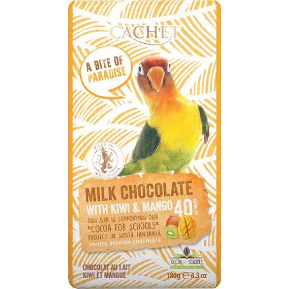 Шоколад Cachet Unique Milk Chocolate with Kiwi & Mango